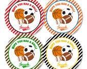 Printed Personalized All Star Sports Birthday Favor Goody Bag Tags Labels Baseball Football Basketball Soccer