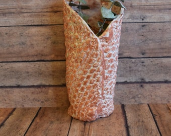 Rustic Sprouts and Wildflower Bud Vase in Earth Tone and White Underglaze.  Perfect for wild flowers or pictured here with dried eucalyptus