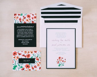 Floral Watercolor with Stripes Wedding Invitation Suite