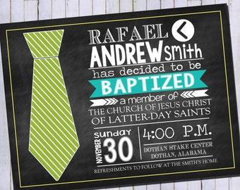 LDS Boy Baptism Invitation   Tie Invitation   Priesthood Invitation   Printable Digital Invitation
