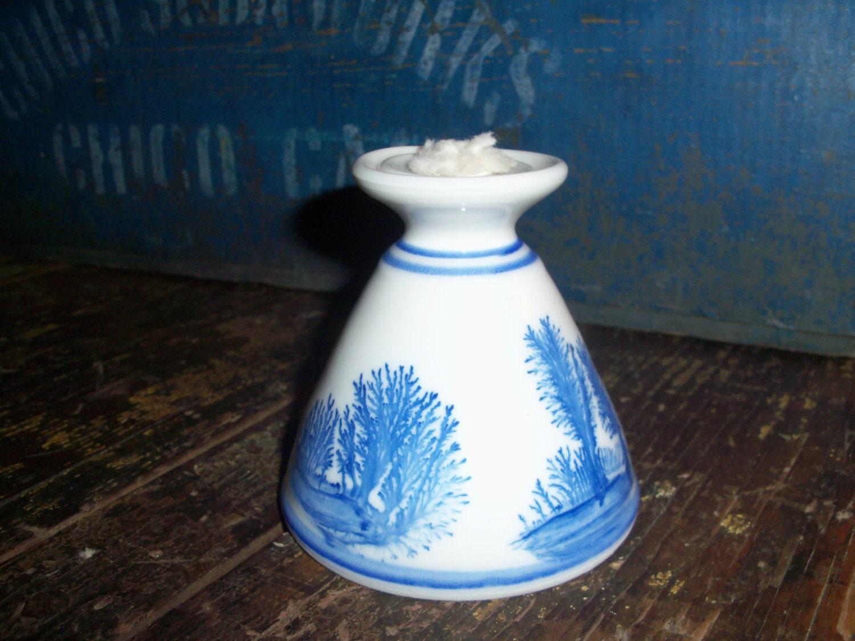 Handmade Ceramic Lamps : Handmade blue ceramic pottery oil lamp