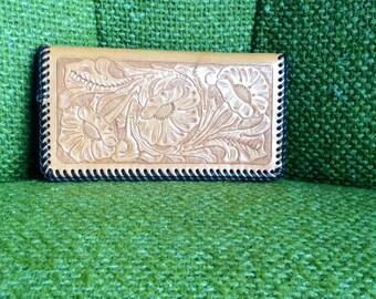 Handtooled Vintage Two Pocket Wallet checkbook