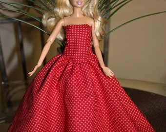 Red strapless Barbie dress