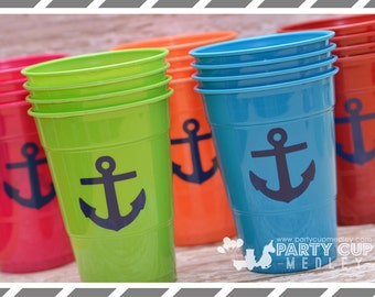 Nautical Party Cups-Anchors Party Cups-Set of 10