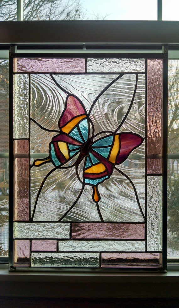 Butterfly Stained Glass Window Panel Glass Art Pink
