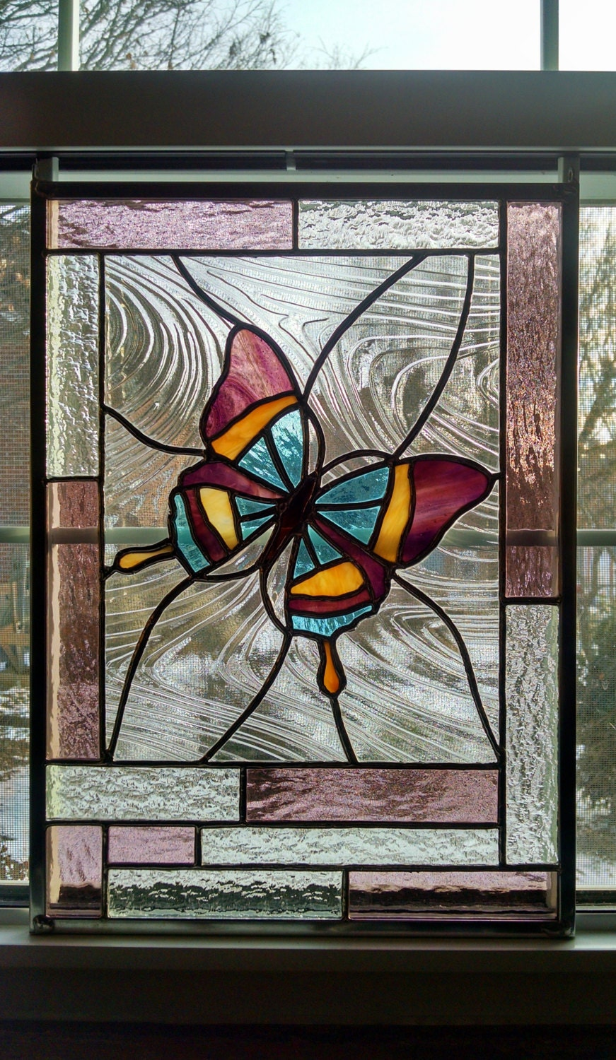 Butterfly stained glass window panel glass art pink for Butterfly stained glass craft