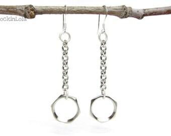 hex nut dangle earrings - hardware earrings - sterling silver ear hooks - handmade by RockinLola