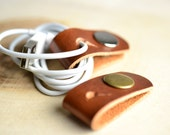 Cable holder, Leather cord organizer 2 pieces with holes