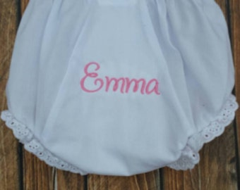Personalized bloomers monogram diaper cover embroidered with name or 3 letter monogram embroidered monogram bloomers diaper cover with name
