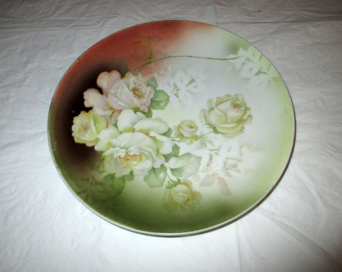 """9-3/8"""" Decorative Cabinet Plate, Marked Germany 93, Pink and Yellow Roses, ca. early 1900s"""