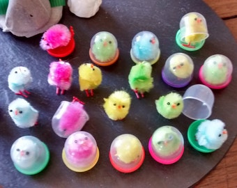 4 or 6+ mini baby chicks animal figurine color mix chenille Easter egg basket filler peeps in gumball capsule birthday party craft supply