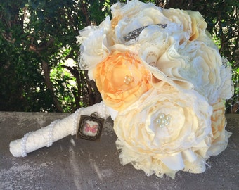 Vintage inspired yellow and ivory fabric bouquet