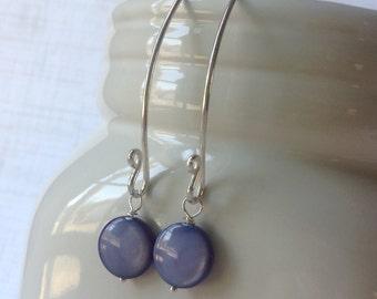 Interchangeable Earrings - Long Curved Dangle Earrings in Sterling Silver - Your Choice of Dangle - Purple, Blue, or Aqua