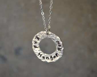 End Hunger Now Necklace Reclaimed .925 Sterling Silver Eco Friendly Open Washer Hand Stamped Hand Hammered Statement Necklace Causal Jewelry