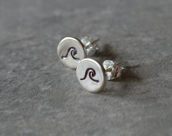 Sterling Silver Rip Curl Stud Earrings Eco Friendly Reclaimed Silver Sterling Silver Posts Beachy Nautical Coastal Wave Marine Life Jewelry