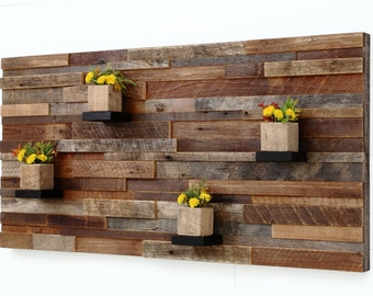 "Wood wall art  with wood shelves 48""x24""x5"" made of reclaimed barnwood, Large wall art, Large art, wood wall sculpture"