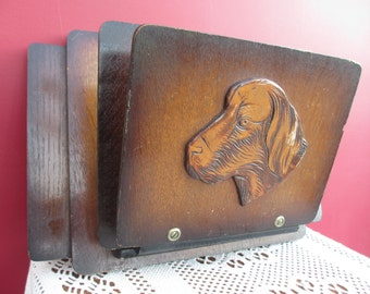 Vintage Wooden Wall Letter Holder with Dogs Face BELGIUM