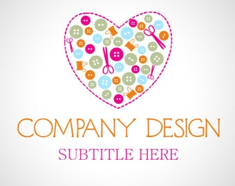 Premade Logo Design and Watermark Sewing Logo Cute Logo Heart Logo Custom Logo Business Logo Logo Designer