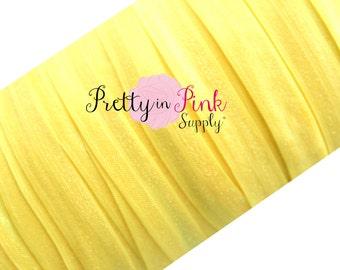 "Sunny Yellow Fold Over Elastic 5 or 10 Yards 5/8"", Solid FOE, Elastic Headband, Elastic Foe, Bright Yellow Elastic"