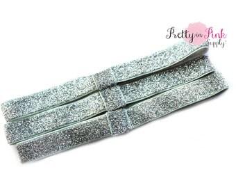 Silver GLITTER Interchangeable Headbands....Fold Over Elastic Headbands...FOE Headbands...Elastic headbands...Elastic...Glitter Elastic