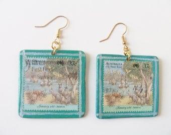 Vintage stamp wooden earrings - square earrings - Australia first fleet stamp earrings - vintage Australian stamp earrings