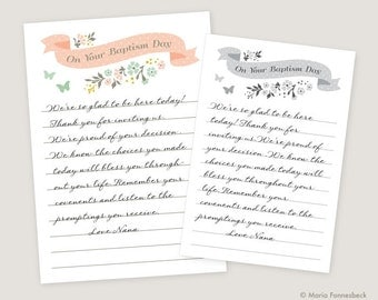 Girl LDS Baptism Testimony Cards Printable: On Your Baptism Day -- Guests Write Their Thoughts & Feelings for a Great Keepsake Memento