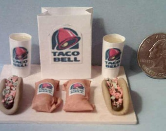 Barbie And American Girl Sized Taco Bell Tacos & Burritos Food Display Board