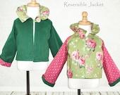 Girls Jacket pattern, Childrens sewing pattern PDF - Girls sewing Pattern - Reversible Jacket Pattern,  RUFFLE JACKET