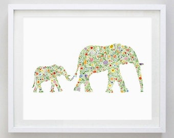 Mamma and Baby Elephant Floral Watercolor Print