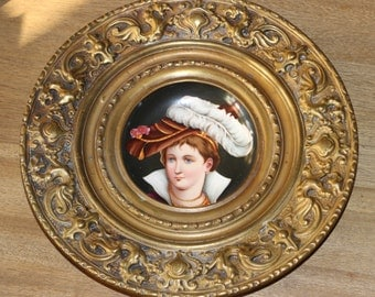 Antique Hand Painted Plate set into an Embossed Brass Frame