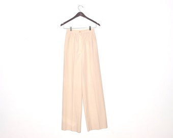 Gorgeous Vintage 70s Cream Ivory High Waisted Wide Leg Holiday Party Career Slacks Pants XS S
