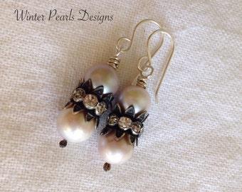 Freshwater Pearl Earrings, Vintage Style, White Wedding, Sterling Silver, Handmade Jewelry by WinterPearlsDesigns  Winter Pearls Designs