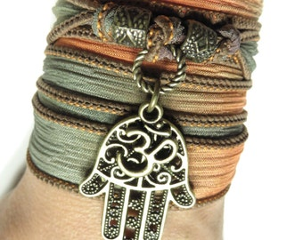 Hamsa Yoga Bracelet Bohemian Om Silk Bracelet Wrap Bracelet Namaste Yoga Spiritual Ribbon Bracelet Boho Chic Bracelet Mother's Day Gift