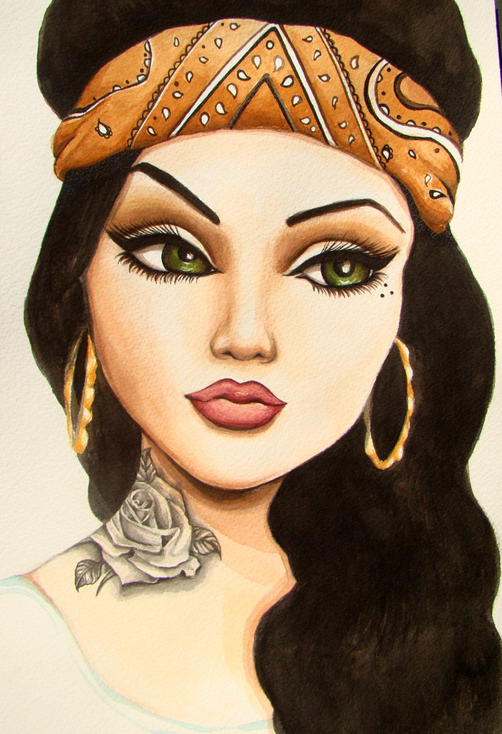 Chola portrait with bandana and black and grey by ...