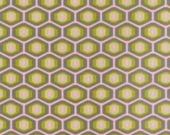1 Yard- Honeycomb in Gray- Amy Butler Midwest Modern- OOP