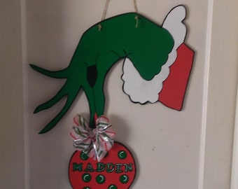 Grinch Wooden Hand Painted Door Hanger