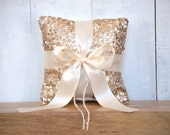 Wedding Ring Bearer Pillow - Champagne Sequin and Ivory Satin Bow