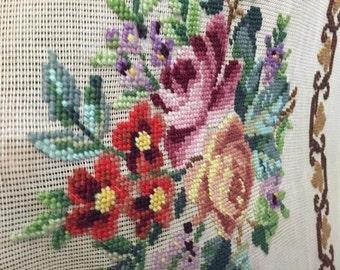 Vintage Flower Needlepoint Beautiful