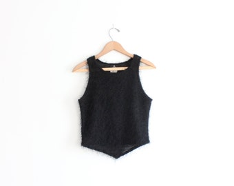 Black Furry 90s Knit Crop Top