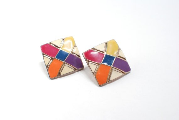 1970 Geometric Colorful Earrings, Vintage Mod Retro Lines, Colors Red Orange Purple Blue White Enamel on Metal