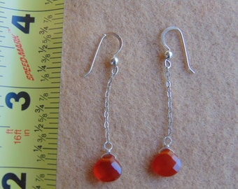 Vintage Sterling Earwire and Chain with Orange/Red