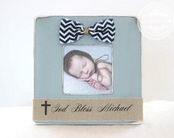 Christening Baptism Baby Naming Gift Cross Picture Frame for Baby BOY Godson Goddaughter Godchild. 'God Bless'