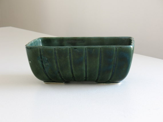 Vintage Hull Green Pottery Planter Ceramic Rectangular Cache