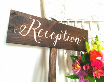 Rustic Reception Wedding Sign | Wooden Wedding Signs | Wedding Signs | Reception Signs | Rustic Wedding Signs | Rustic Signage  -  WS-139