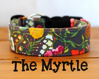 "Charcoal Grey Multicolor Mustard Orange and Rose Vintage Inspired Dog Collar ""The Myrtle"""