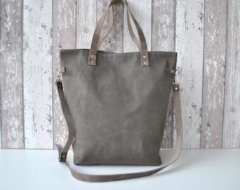 Gray Canvas Tote Bag Shoulder bag Medium size