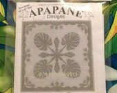 "New!! Hawaiian quilt pattern ""Monstera & Plumeria"" 42 inch x 42 inch"