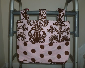 Pink and Brown Print with Polka Dot Pockets Walker Bag