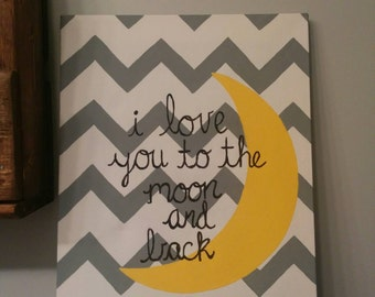 I love you to the moon and back canvas art handpainted