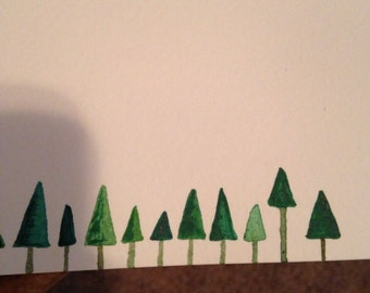 """Green Pine Tree Holiday Gift Tags 2"""" by 2"""""""